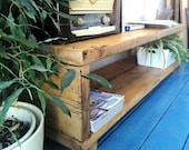 Industrial chic reclaimed coffee Table Media console TV United stand