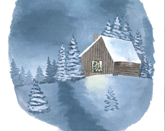 Snowy Cabin Watercolor Art Print Wall Decor Home Christmas Gift Women Men Winter