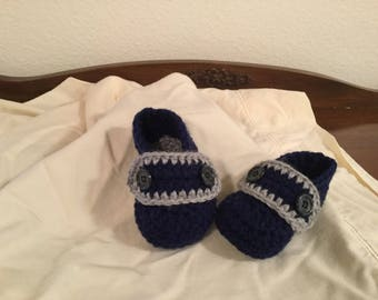 Crochet Baby Boy Loafers with Buttons