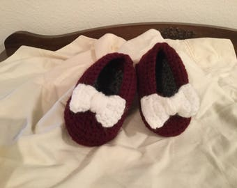 Crochet Baby Mary Janes Shoes with Bow