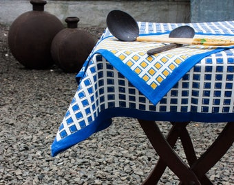Cotton Table Cloth,Indigo Table Decor, Square Tablecloth, Rectangle  Tablecloth 60X90 Inch, Modern Table Linen, Christmas Sale