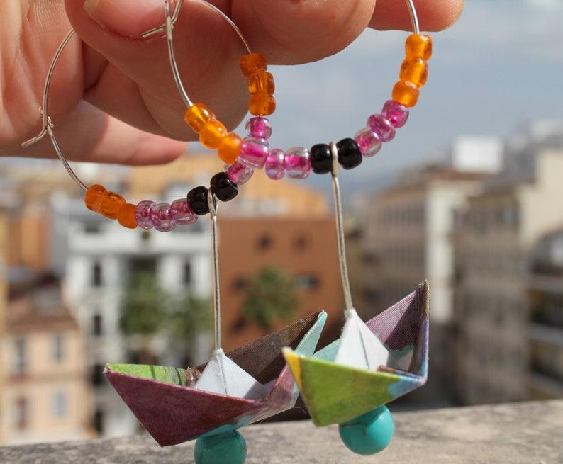 Joyeria hecho a mano-Pendientes de Origami-Pendientes de barco-Joyer\u00eda de plata-Pendientes azules-Pendientes amarillos-Pendientes grises-