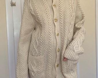 Hand knitted women's irish aran cardigan fisherman's sweater ...   vintage raglan sleeved cream cardigan sweater