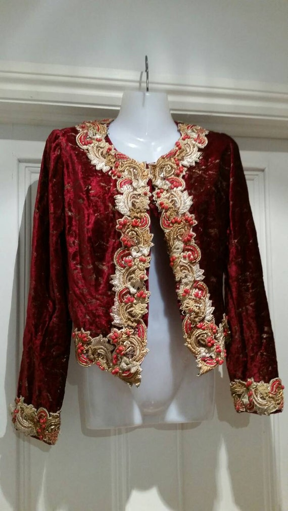 Beautiful red velour bohemian Jewelled cropped bea