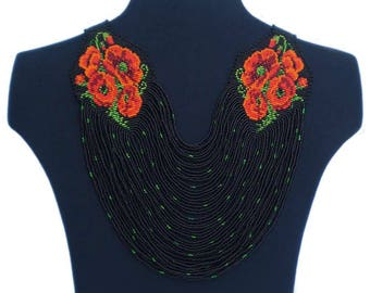 Red and black Statement necklace Big bead necklace Big chunky necklace Big black necklace Big statement Big bold statement Flower statement