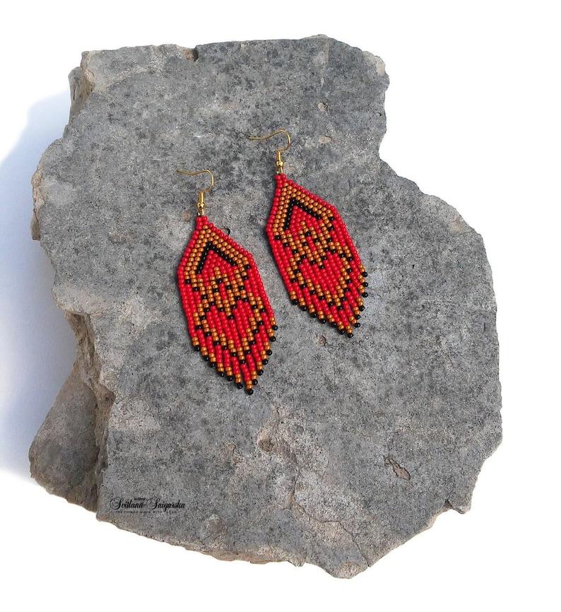 Red black gold Abstract Rhombus Trendy earrings Minimalist Modern Statement  Geometric Small dangle earrings Fringe Czech glass earrings