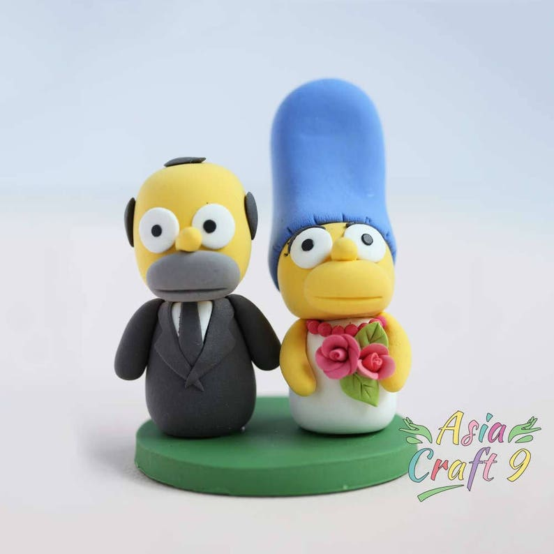 dab78c2c64dfbd Simpsons Wedding cake topper clay doll Homer and Marge