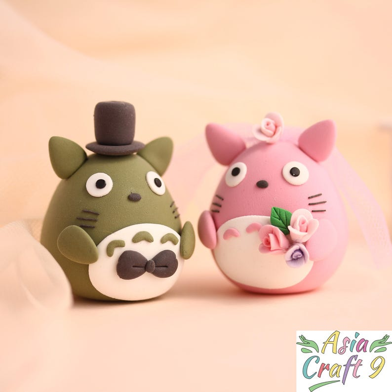 Totoro Bride And Groom Wedding Cake Topper Clay Doll Japanese Etsy