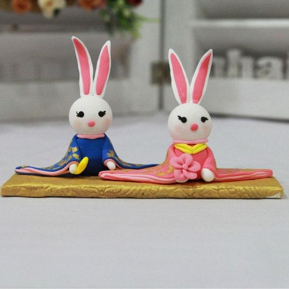 Wedding Cake Topper Bunny In Kimono Japanese Wedding Costume Etsy