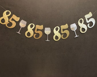 85th Birthday Banner Party Decorations Garland Glitter Banners