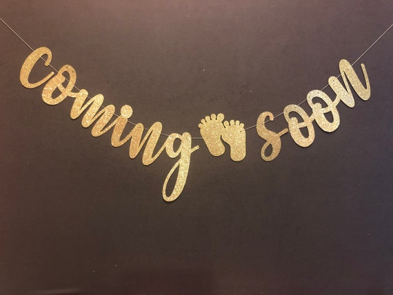 Coming Soon Baby Shower Banner Baby Shower Decorations Gold Etsy