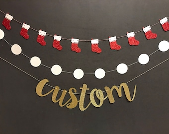Happy Holiday Banner, Custom Banners, Christmas Decorations, Christmas Garland, Be Merry Banner, Happy Holidays,  Season's Greetings Banner