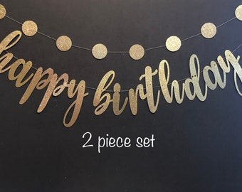 Happy Birthday Banner, Glitter Banners, Birthday Banners, Party Banners