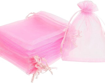 10 Organza Bags Pink Star and Moon 9 x 12 Small Jewellery Pouch Wedding Favours