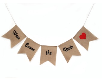 Here Comes the Bride Burlap Banner Wedding Party Decoration Bunting Hessian