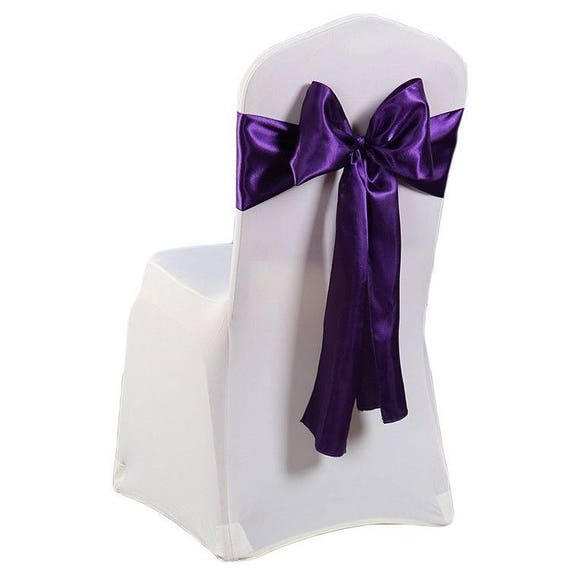 Dark PURPLE ORGANZA SASHES Chair Cover Decoration Fuller Bow Wedding Party VAT