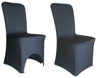 Black - Spandex Lycra Chair Cover Arched Front Covers - Wedding Party Decor