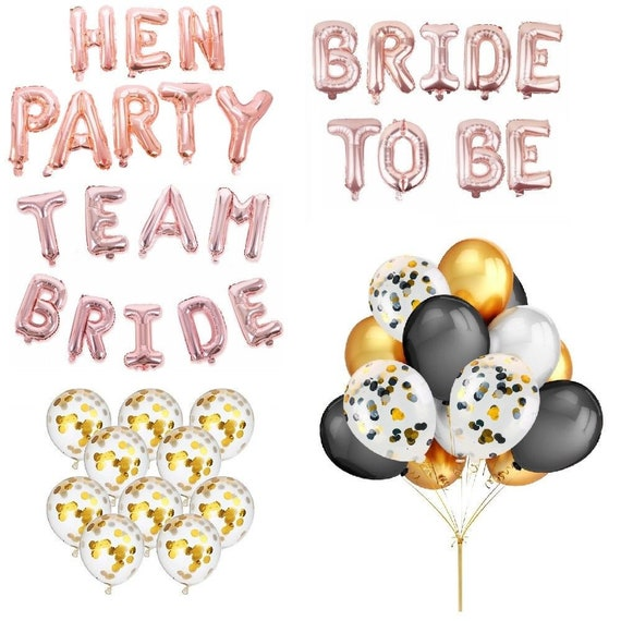 Foil Latex Balloons Set Rose Gold Bride To Be Sashes Wedding Hen Party Decor UK