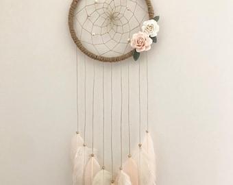 Pink & Cream Floral Dream Catcher