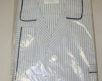1960s 60s New Fruit of the Loom White Blue Striped Pajama Set Size XL   Deadstock   NWT   Blue Piping   46-48 Chest   Mid Century