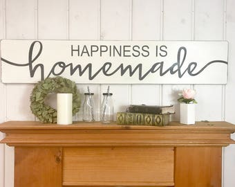 Superb Kitchen Wood Sign | Happiness Is Homemade | Rustic Wood Sign | Kitchen Wall  Decor | Happy Sign | Farmhouse Sign | Fixer Upper | 48x9.25