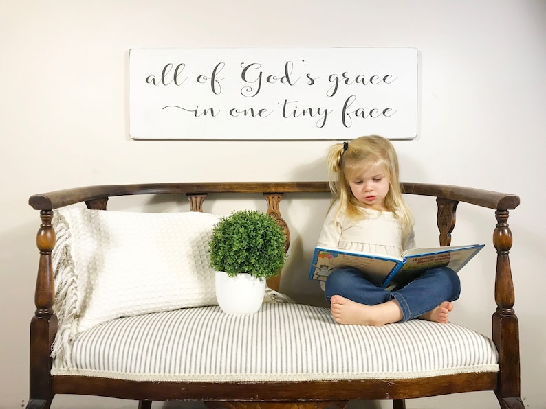 crib sign rustic wood sign sign above crib nursery sign nursery room decor All of God/'s grace in one tiny face