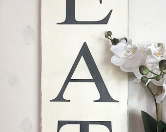 "EAT sign | rustic wood kitchen sign | kitchen decor | farmhouse sign | fixer upper decor | 24"" x 9.25"""