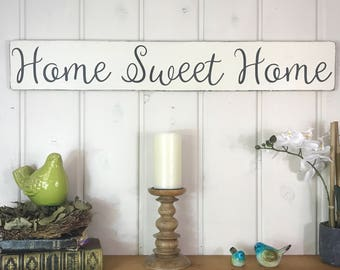 """Home sweet home sign   rustic wood sign   rustic wall decor   housewarming gift   36"""" x 5.25"""""""