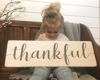 Thankful sign | rustic wood sign | home and living | wall decor | fixer upper decor | give thanks sign