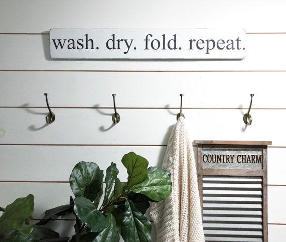waschen trocknen falten wiederholen zeichen w sche raum etsy. Black Bedroom Furniture Sets. Home Design Ideas