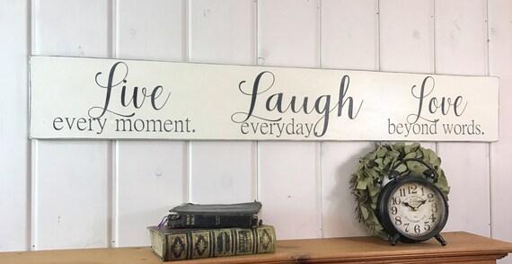Live Laugh Love Sign Rustic Wood Bedroom Wall Decor