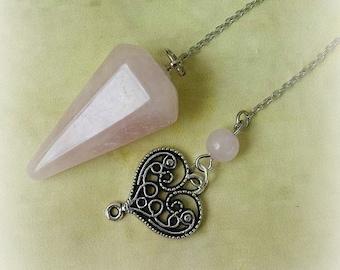 Rose Quartz Pendulum, Divination, Witchcraft Supplies, Healing Crystals, Crystal Pendulum, Dowsing Pendulum, Divination Tool, Witch