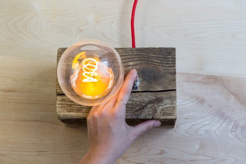 Reclaimed Wooden Accent Lamp with LED Edison Bulb image 0
