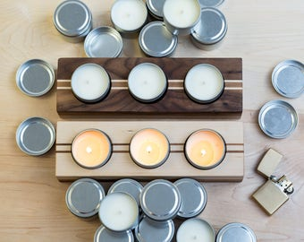 Soy Candle Gift Set | Iron & Walnut | Candle Gift Set, Soy Wax Candles, Campfire, Citrus, Summer Garden Scented