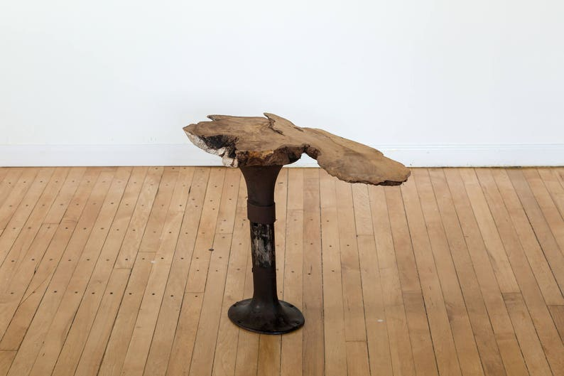 Unique Live Edge Maple Table with Reclaimed Industrial Base image 0