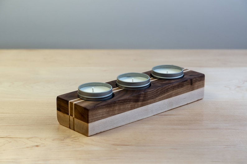 Walnut Candle Holder Gift Set with 3 Scented Soy Candles  image 0