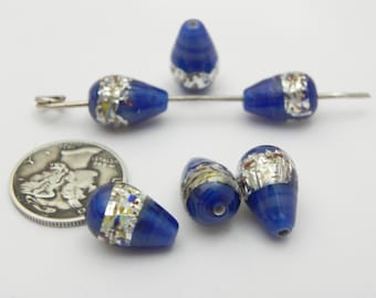 Cobalt Confetti Foil 13x9mm Teardrop Lampwork Beads (6 pieces)