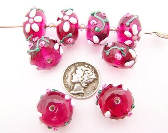 Magenta Candy Tea Rose 15x10mm Glass Lampwork Beads (1 piece)