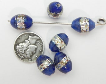 Cobalt Confetti Foil 13x9mm Lampwork Beads (6 pieces)