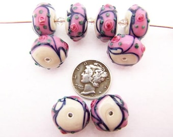 Mauve Cream Tea Rose 15x10mm Glass Lampwork Beads (1 piece)