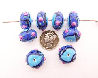 Turquoise Periwinkle Tea Rose 15x10mm Glass Lampwork Beads (1 piece)