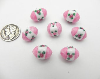 West German Tea Rose Mottled Pink Vintage Lampwork Various Shapes-Sizes Bead Lot