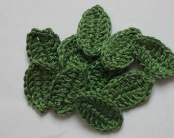10 crocheted leaves, khaki