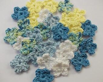 30 Mini flowers in 5 colors-crochet