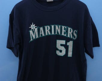 a7f4a7e12 Vintage Seattle Mariners Baseball Shirt MLB Big Logo T Shirt Top Tee Shirt  Size L