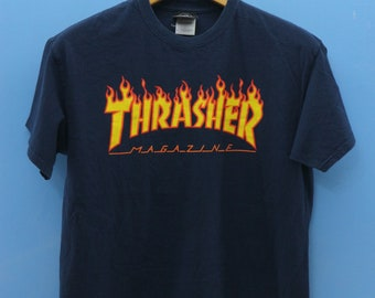 5cfe147e4142 Vintage Thrasher Magazine T Shirt Punk Rock Band Big Logo Shirt Skate  Street Wear Size M