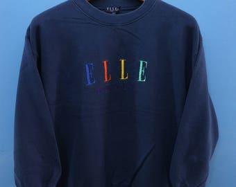 Vintage Elle Sweatshirt Pull Over Crewneck Urban Fashion Size L