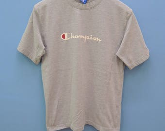 Vintage Champion Big Spell Out Logo Sport Shirt Street Wear Swad Top Tee Size L