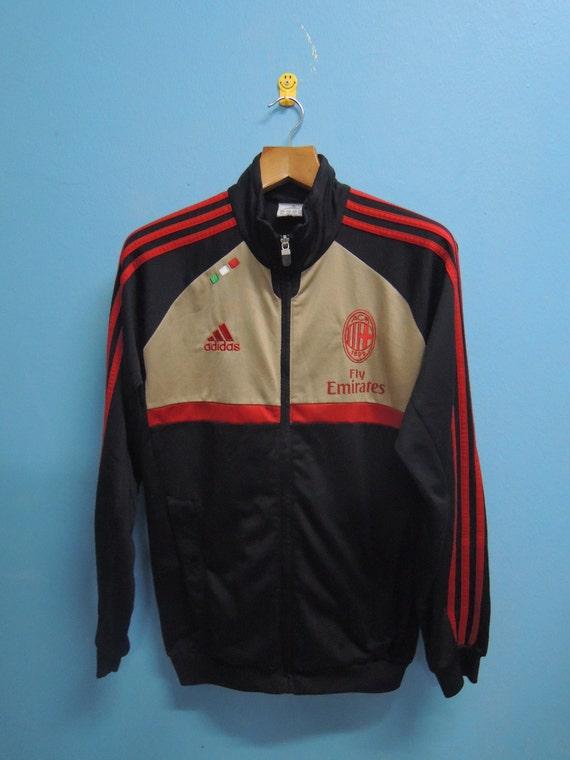 online store 0d892 08a09 90's Vintage Adidas Training Sweater AC Milan Football Club Serie A Sport  Sweater Fully Zipper Hip Hop Street Wear Size S
