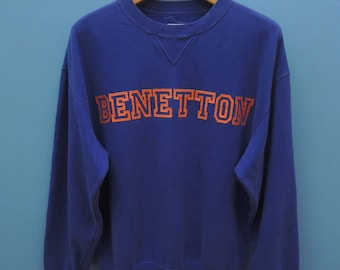 Vintage Benetton Big Spell Out Logo Sport Sweatshirt Pull Over Crewneck Sweater Size 48